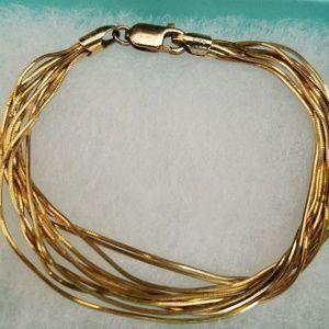 Jewelry - Gold over 925 Sterling Silver 10-Strand Bracelet